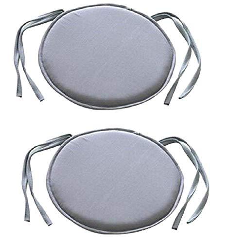 Joasung Lot de 2 Ronds Chaise de Salle à Manger Chaise galettes de Cordons Patio Maison de Voiture Canapé Bureau Tatami Décoration Intérieur Extérieur, 40 cm × 40 cm (Gris)
