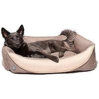 Pets&Partner Hundekissen | Hundebett | Hundekorb aus Leinenmaterial, Waschbar, Hunde Körbchen für Kleine, Mittlere bis Große Hunde, Größe S