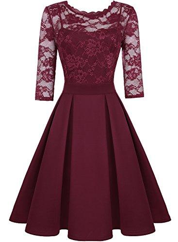 ihot Damen Elegant Cocktailkleid Spitzen 2/3 Arm Vintage Kleid Brautjungfer 50er Jahr Abendkleid