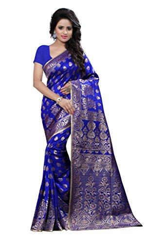 Shree Sanskruti Women's Tassar Silk Saree(Banarasi 1003 Blue_Blue)