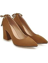 QIN&X Bout Carré de Femmes Talon Haut Bloc Bouche Peu Profond Pompes Chaussures Prom, Rouge, 41