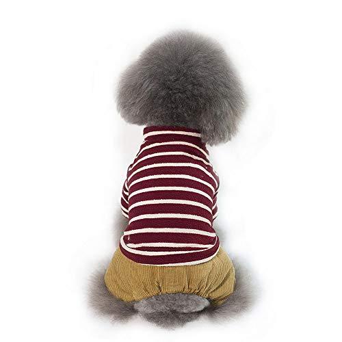 Gestreifte Kostüm Katze - FITIN PET Cat Dog Kleidung Hund Katzen Mantel PET Kleidung Herbst und Winter gestreifte Baumwolle PET Bekleidung Hund Katzen Kostüme,B,XL