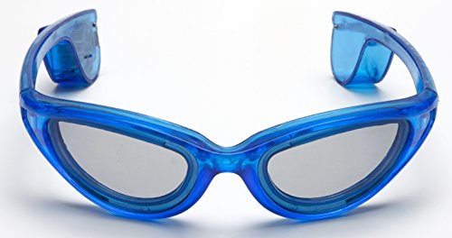Led Kostüm Woman - LED Leuchtbrille Party Ohne Kabel Lady-Style Blau mit 10 LED Partybrille Karneval Fasching Neon Sonnenbrille