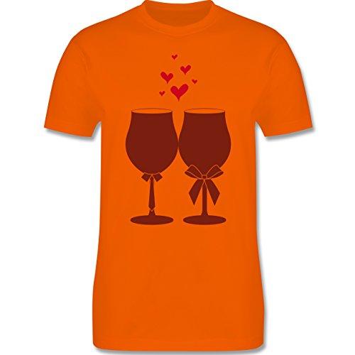 Symbole - Weingläser Wein - Herren Premium T-Shirt Orange