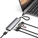 SATECHI Schlanker Typ C Multi-Port Adapter V2 aus Aluminium mit 4K HDMI (30Hz), MicroSD/SD-Kartenlesern und USB 3.0 (Space Grau)