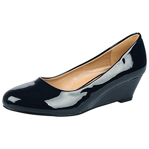bypublicdemand-wendy-womens-low-wedge-heel-slip-on-smart-court-shoes-8-uk-navy-blue-patent