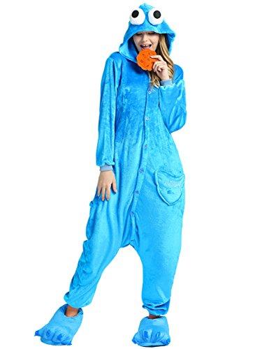 Ninimour Unisex Tier Onesie Erwachsene Tieroutfit Jumpsuit Pyjama Kostüme Schlafanzug COOKIE MONSTER