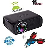 Punnkk P7 Plus 1800 Lumens Led Projector With HDMI/VGA/USB/AV & Miracast With Free 3D Glasses/Spectacles