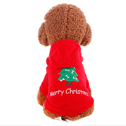 Hundekleidung, Legendog Hundejacke Weihnachtsbaum Haustier WinterHoodie Mantel für Weihnachtsdekor (Kostüme Weihnachtsbaum Wenig)