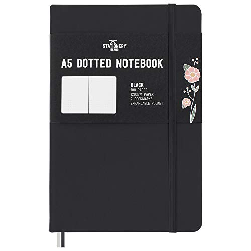 Stationery Island Quaderno Puntinato A5 - Bullet Journal con Carta Premium 120 g/m² e Copertina Rigida Nera