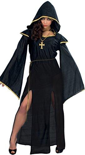 schwarze Priesterin Halloween Karneval Fasching Kostüm Damen Gothic Satan Gr. M-L, Größe:L