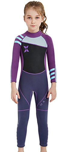 SAIL & DIVE Kinder Neopreneanzug Badeanzug Mädchen Schwimmanzug Einteiler Unisex 2.5MM Tauchanzug UV-Schutz Langarm Wetsuit für Wassersport-Lila-7-8 Jahre Alt
