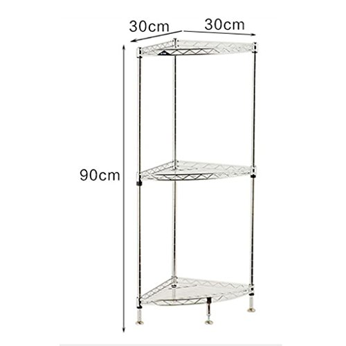 Shelf Fashion capital Regal Schlafzimmer dreischichtiges Metall Fächerförmige Ecke Dekoration Eckregal Badezimmer Küchenregal (Chrom-clip 1 Licht)