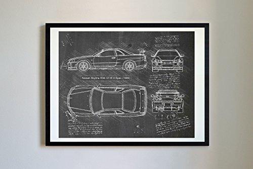 DolanPaperCo #178 Nissan Skyline R34 GT-R 1999 Kunstdruck, da Vinci Sketch, ungerahmt, Verschiedene Größen/Farben, 11 x 14, Tafel
