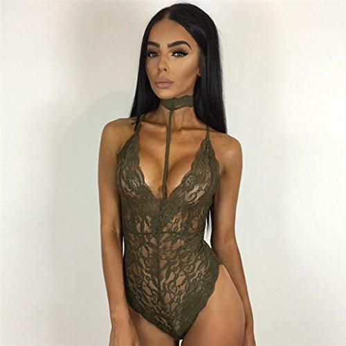 Unbekannt Frauen Sexy Sexy Temptation Spitze Körper Körper Anzug (Color : Green, Size : L)