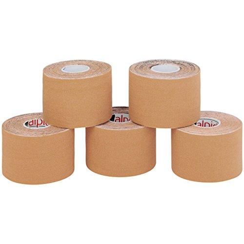 5 Rollen Kinesiologie Tape 5 m x 5,0 cm in verschiedenen Farben, Farbe:hautfarben