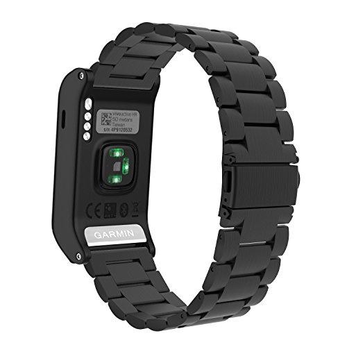 MoKo Garmin vívoactive HR Armband - Edelstahl Replacement Watchband Strap Uhrenarmband Erstatzband mit Metallschließe Watch Band für Garmin vívoactive HR Sport GPS-Smartwatch, Schwarz
