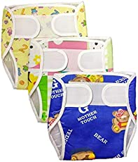 Baby Shopiieee Reusable Padded Strap Diaper Pant / Reusable Pocket Diaper/ Baby Cloth Diaper / Outside Printed Cotton Inside Plastic Diaper Pant (Muslin)- Set of 3 (3-6 Months ) Print & Color May Vary - M (3 Pieces)