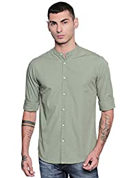 Dennis Lingo Men's Solid Chinese Collar Dusty Green Casual Shirt