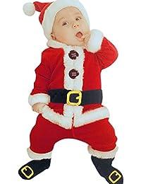 Kobay 4 STÜCK Säugling Baby Weihnachtsmann Oberteile + Hosen + Mütze + Socken Outfit Set Kostüm