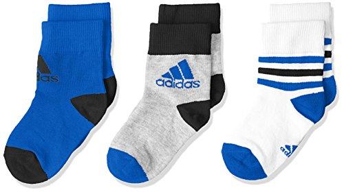 adidas LK Ankle S 3PP Calcetines, Unisex Bebé, Blanco (Blanco/Azul/Brgrin), 19/22