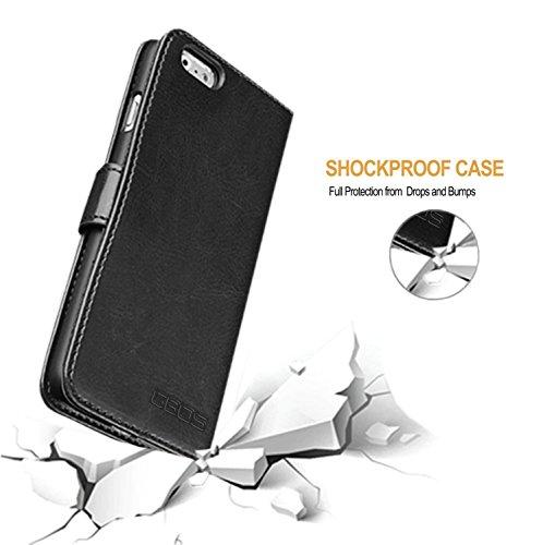 GBOS® Braun Rich-Leder-Standplatz Mappen-Schlag-Fall-Abdeckung For APPLE IPHONE 8 PLUS (speziell angefertigten - Premium-Qualität) Antique Leather Case Schwarz