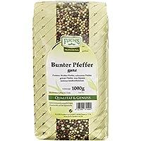 Fuchs Bunter Pfeffer ganz Pfefferkörner 1 kg Vorratspackung, aus weißem, schwarzem und grünem Pfeffer, mit rosa Beeren, Menge: 1 Stück