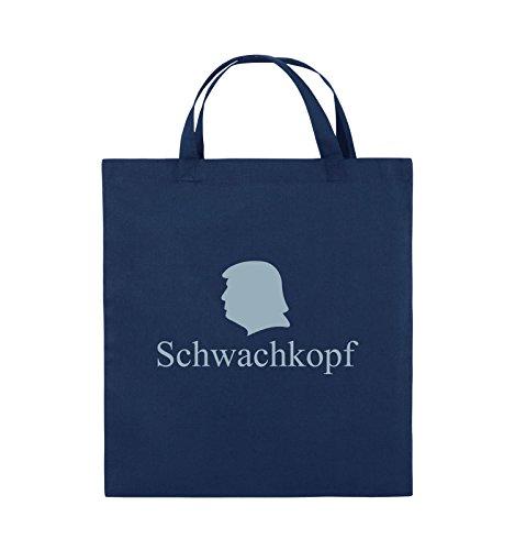 Comedy Bags - Schwachkopf - TRUMP - Jutebeutel - kurze Henkel - 38x42cm - Farbe: Schwarz / Pink Navy / Eisblau