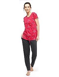 ZEYO Women's Cotton Red & Antara Black Feeding Night Suit | Nursing Night Dress with Little Star & Floral Print | Breastfeeding Night wear| Full Sleeve Baby Feeding Top and Pyjama Set