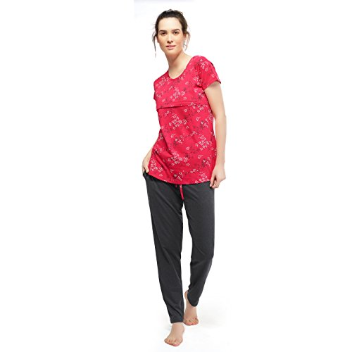 ZEYO Women's Cotton Red & Antara Black Feeding Night Suit | Nursing Night Dress with Little Star & Floral Print | Breastfeeding Night wear| Full Sleeve Baby Feeding Top and Pyjama Set