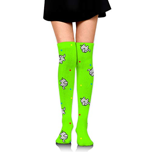 Cutie Pie Elephant On Bright Green Women's Over Knee Thigh Socks Girl High Stockings 65 Cm/25.6In Womens Cutie Pie