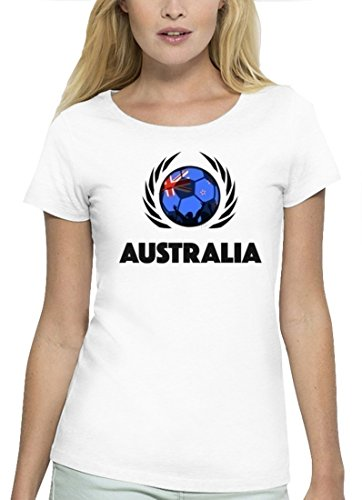 ShirtStreet Australia Fussball WM Premium Fan Damen T-Shirt Bio Baumwolle Stanley Stella Fußball Australien White