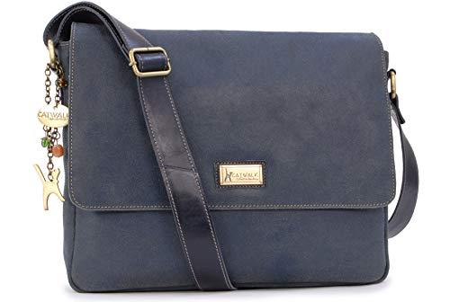 Catwalk Collection Handbags - Vintage Grobem Leder - CATWALK COLLECTION - Größ - Umhängetasche Messenger/Schultertasche/Arbeitstasche für Damen - Laptop/Tablet - SABINE - Blau