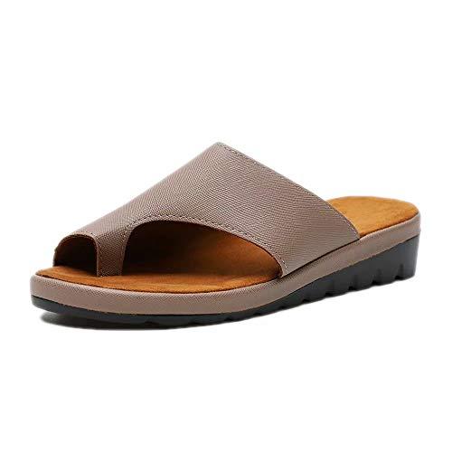 Sandalen Damen Plateau Schlappen Sommer Keilabsatz Leder Sandaletten Flache Peep Toe Strand Hausschuhe Zehentrenner Flip Flops Bequeme Braun 41 Gold Peep Toe Schuhe