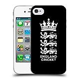 Head Case Designs Offizielle England and Wales Cricket Board Schwarz 2018/19 Kamm Soft Gel Hülle für iPhone 4 / iPhone 4S