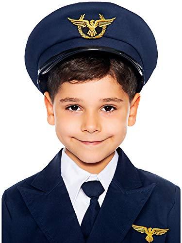 Maskworld Authentische Piloten-Mütze für Kinder - perfekt für alle Überflieger die noch EIN Accessoire zu Karneval Fasching oder Halloween suchen - Verkleidung Uniform - Größe 56 (Flugzeug Piloten Kostüm Kinder)