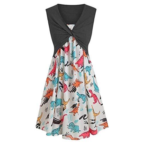 Bibao Kleid für Damen, kurzärmliges Kleid mit vorderem Kreuz-Top, Überzug mit Bändern, Dinosaurier-Print, Strandkleid -