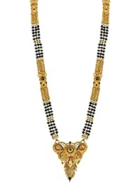 Spargz Indian Gold Plated AD Stone Chain Pendant Ethnic Bridal Jewelry Mangalsutra Set AIMS_145