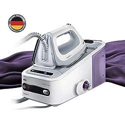 Braun CareStyle5 - Centro de planchado, 2400 W, color blanco y lila con sistema de fijación EasyLock
