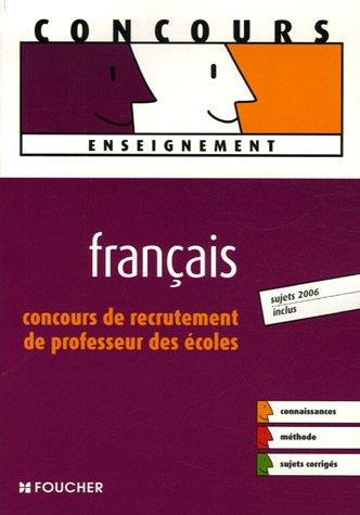 Français : Concours de recrutement de professeur des écoles