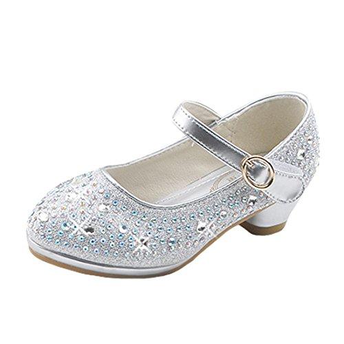 O&N Prinzessin Gelee Partei Absatz-Schuhe Sandalen für Kinder Glanz Prinzessin mit Kunstdiamond