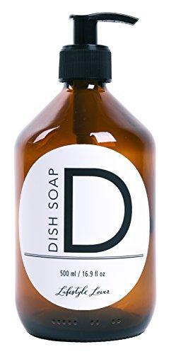 Lifestyle Lover Seifenspender 500ml aus Braunglas, Bernsteinfarben für Seife Spüli Shampoo Lotionen Braun Glas Dish Soap (D) - Spülmittel-flasche