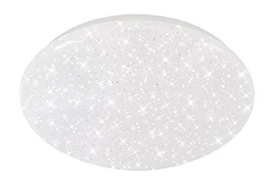 Briloner Leuchten LED Deckenleuchte mit Sternenfunkel Dekor, Lichtfarbe Deckenlampe: Neutralweiß, D: 29 cm, 12W, 1200 Lumen, Metall, Integriert, 12 W, Weiß, 29 x 29 x 9.5 cm