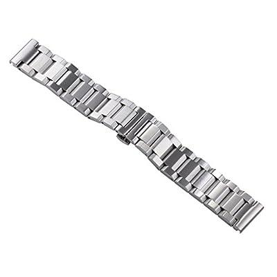 18mm cepillado sólidas correas de reloj de acero inoxidable de alta final de plata tipo pesado para relojes deportivos