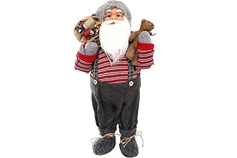 Weihnachtsmann 80 cm rot mit Brille Teddy & Sack Nikolaus