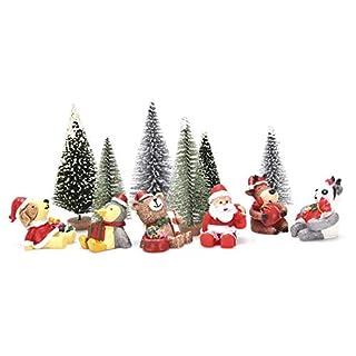 Peerless Miniatur-Weihnachtsdekoration, Miniatur-Spielzeug, Mini-Harz, Weihnachtsbaum, Weihnachtsbaum, Panda, Pinguin, Rentier, Hund, Bär, Mädchen Jungen und Kinder, 12 Stück