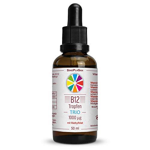 Vitamin B12 Tropfen TRIO 1000µg mit aktiver Folsäure (Methylfolat (5-MTHF)) || 50 ml || OHNE ALKOHOL || vegan || aktive B12 Formen Methylcobalamin & Adenosylcobalamin || SinoPlaSan -