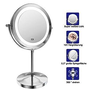 Gospire Kosmetikspiegel mit LED Beleuchtung 7 Zoll 1X/10X Vergrößerung Make Up Standspiegel Doppelseitige Schminkspiegel