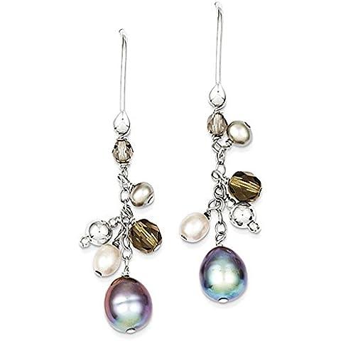 Sterling Silver FW coltivata Blue & White Pearl / Vetro Cluster ciondola Ear