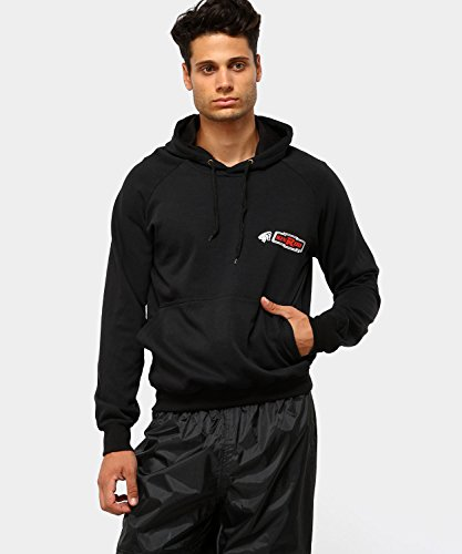 felpa 100% cotone con maniche lunghe. con cappuccio regolabile e tasca a marsupio anteriore. Colore nero. Taglia XXL.